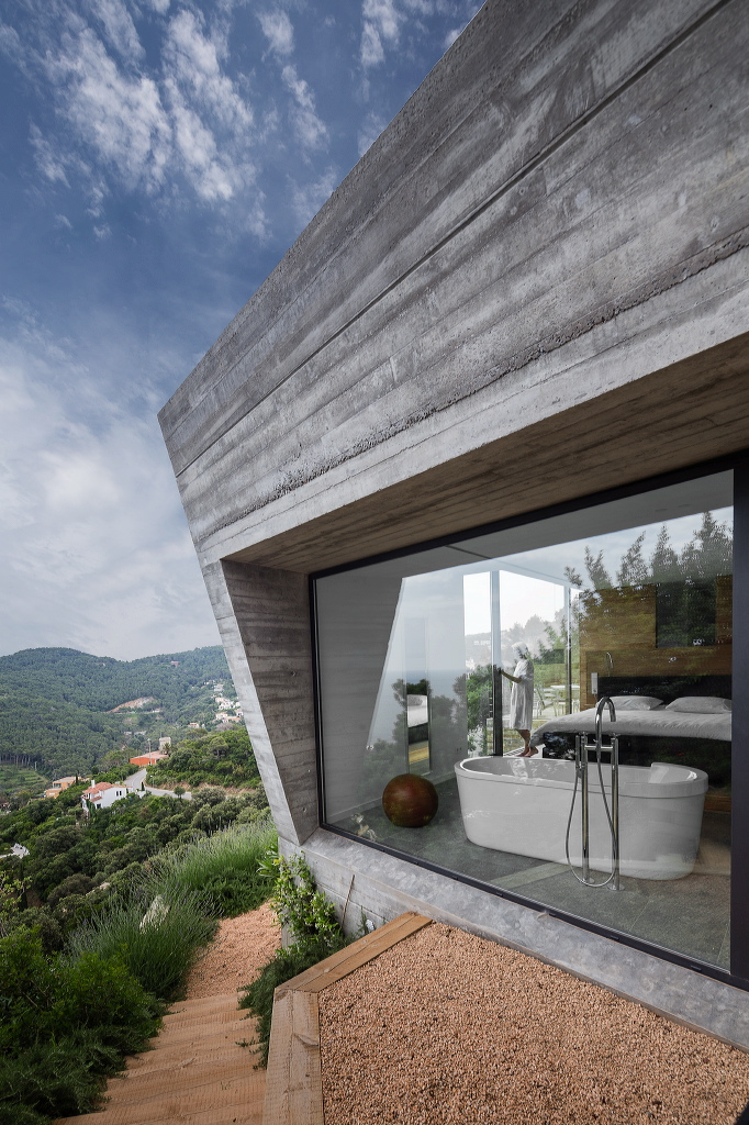 bathtub in a modern villa on the costa brava